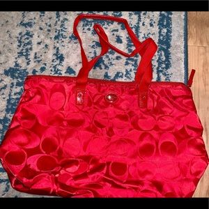 Bright Red Coach Bag W/ Matching Interior Bag